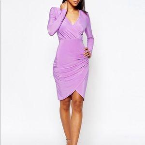 ASOS Club L Wrap Front Asymmetric Midi Dress
